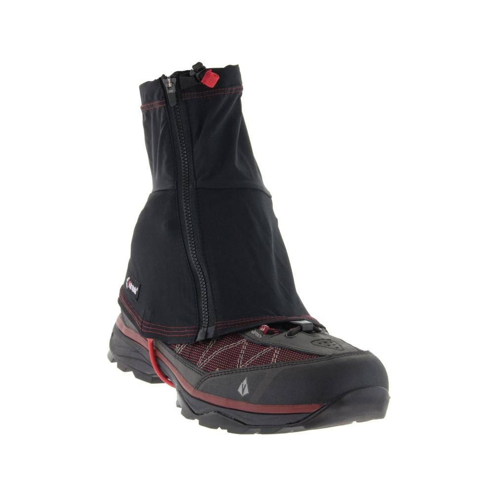 Kahtoola Insta Gaiter Gtx Mid, front/ outer side view shown over shoe, in black colour