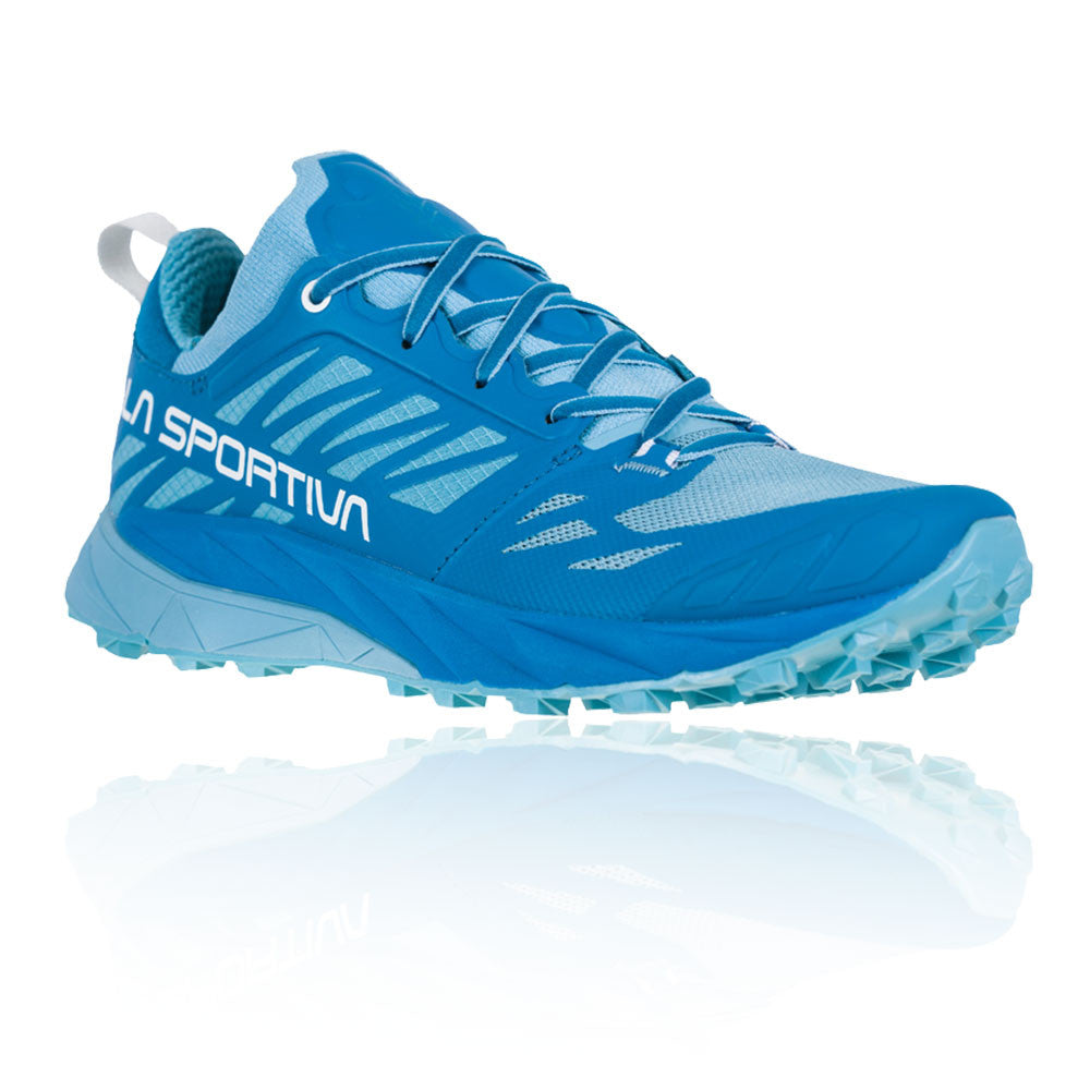 La Sportiva Kaptiva Womens running shoe, outer side view in blue colours