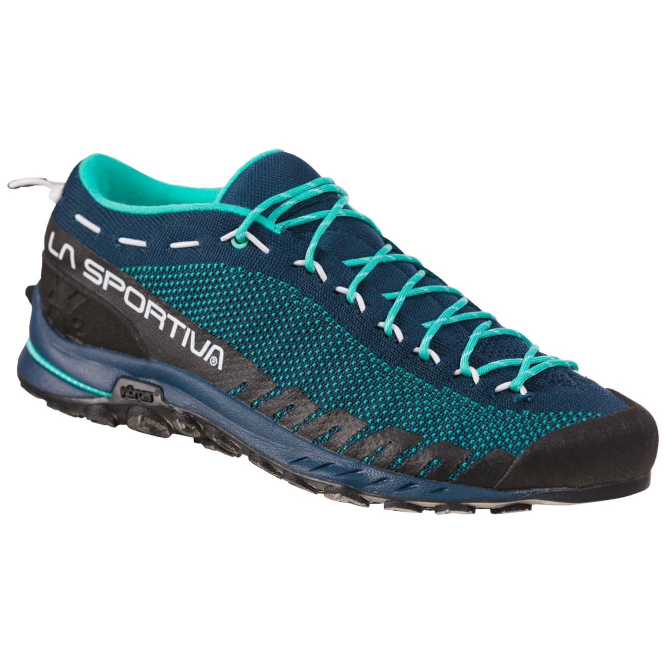 La Sportiva Tx2 Womens approach shoe,  front/outer side view in blue/black colours