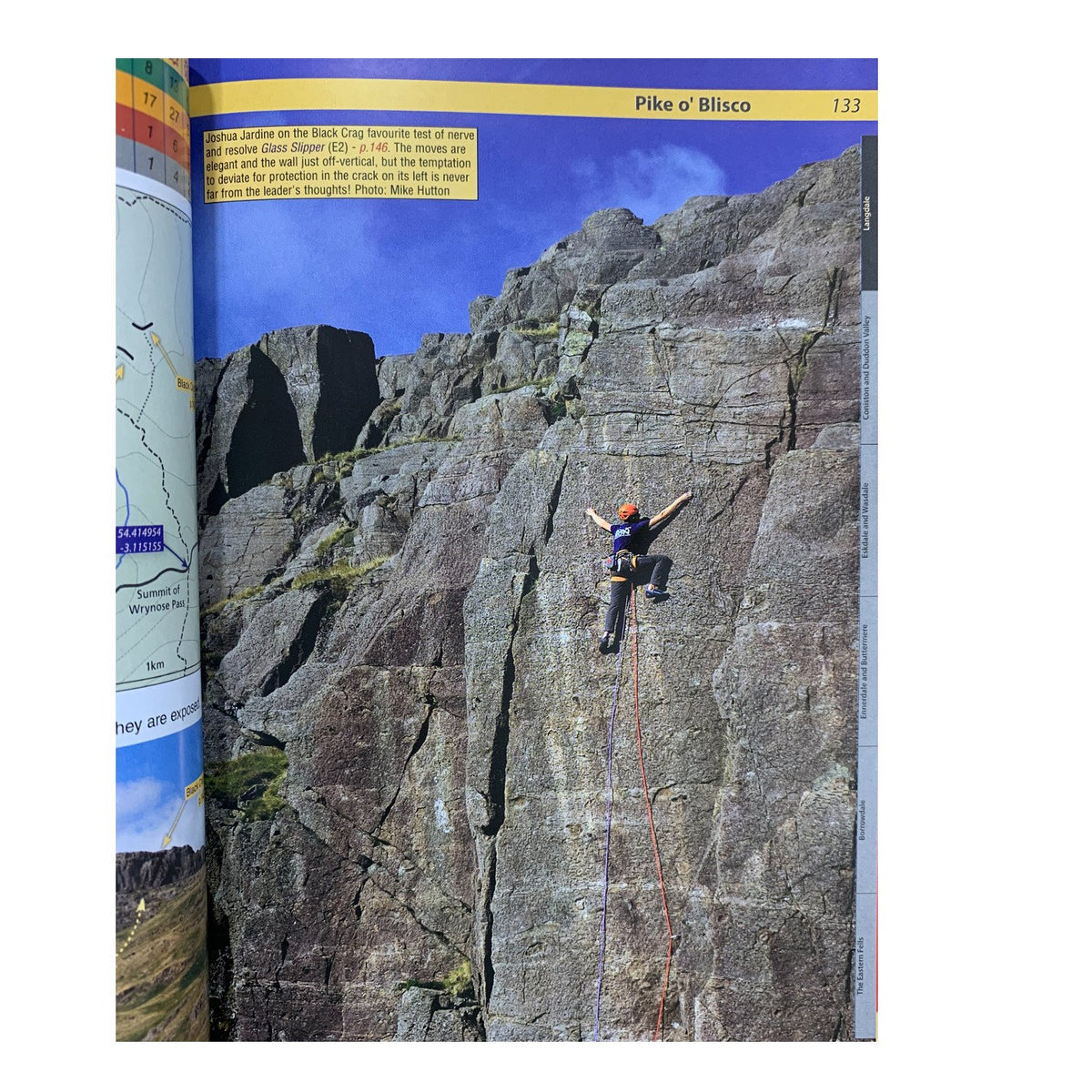 Lake District Climbs Inside page showing Joshua Jardine, climber on route