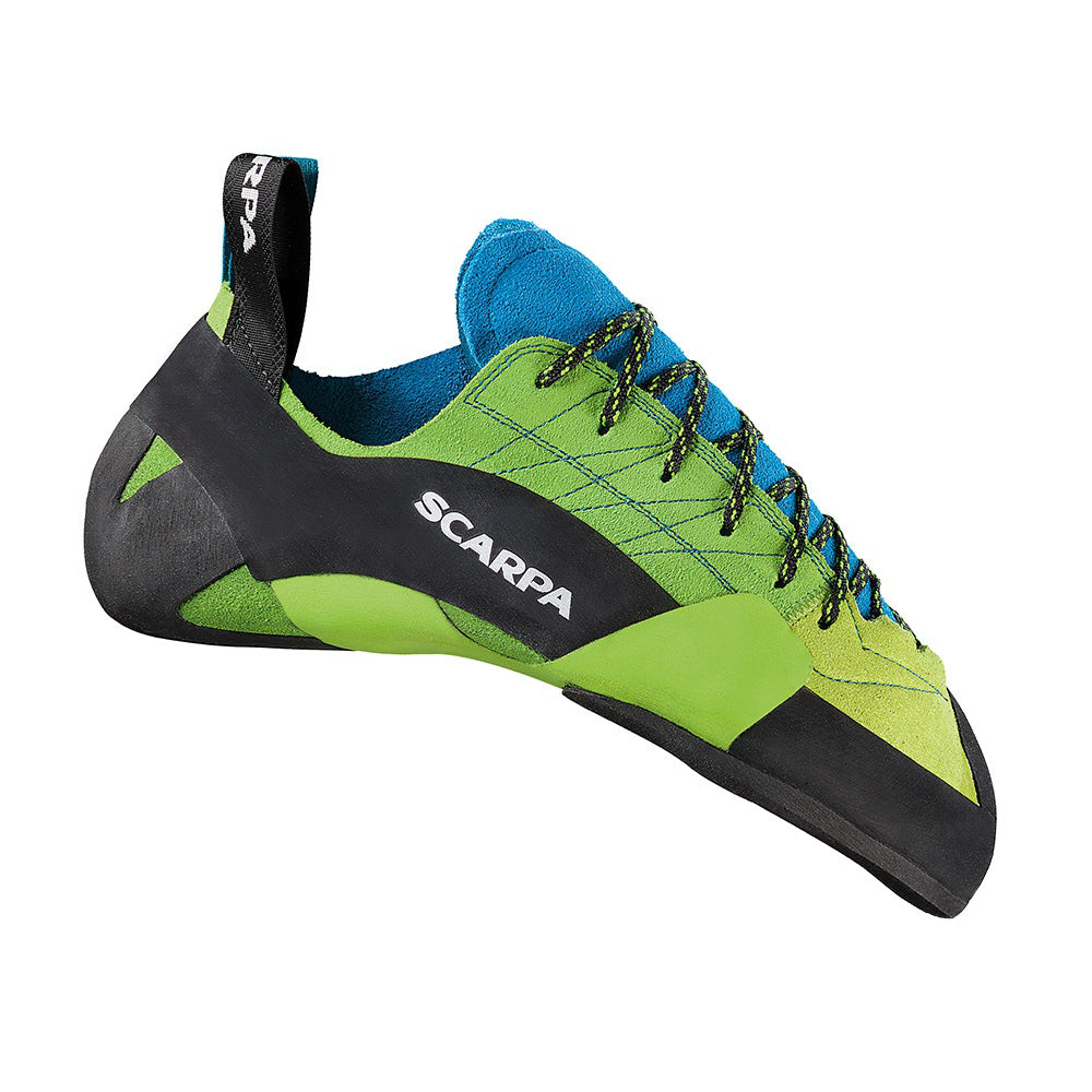 Scarpa Mago climbing shoe, in black, green and blue colours
