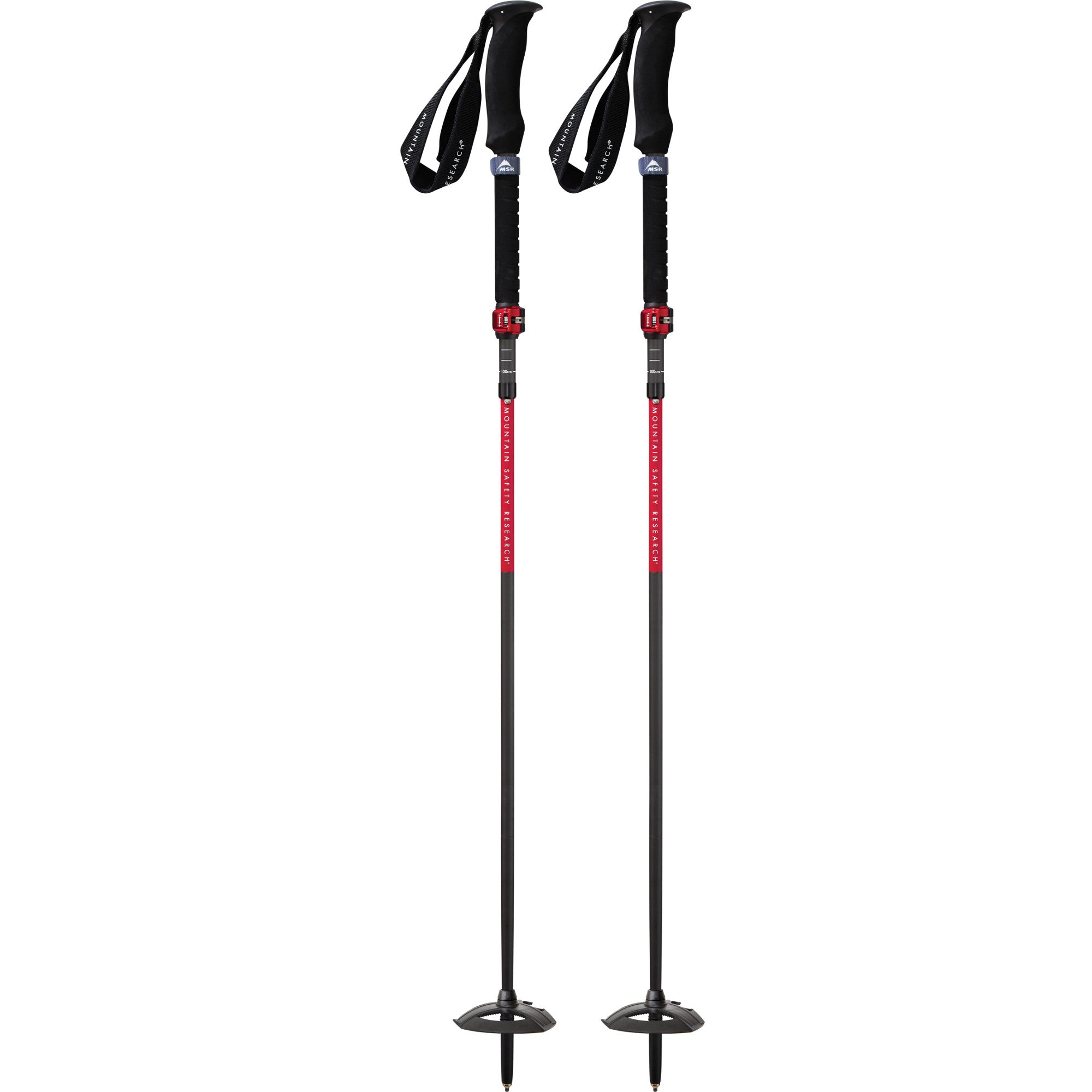 Pair of MSR Dynalock Ascent Carbon mountain poles, in Black/Grey/Red colours