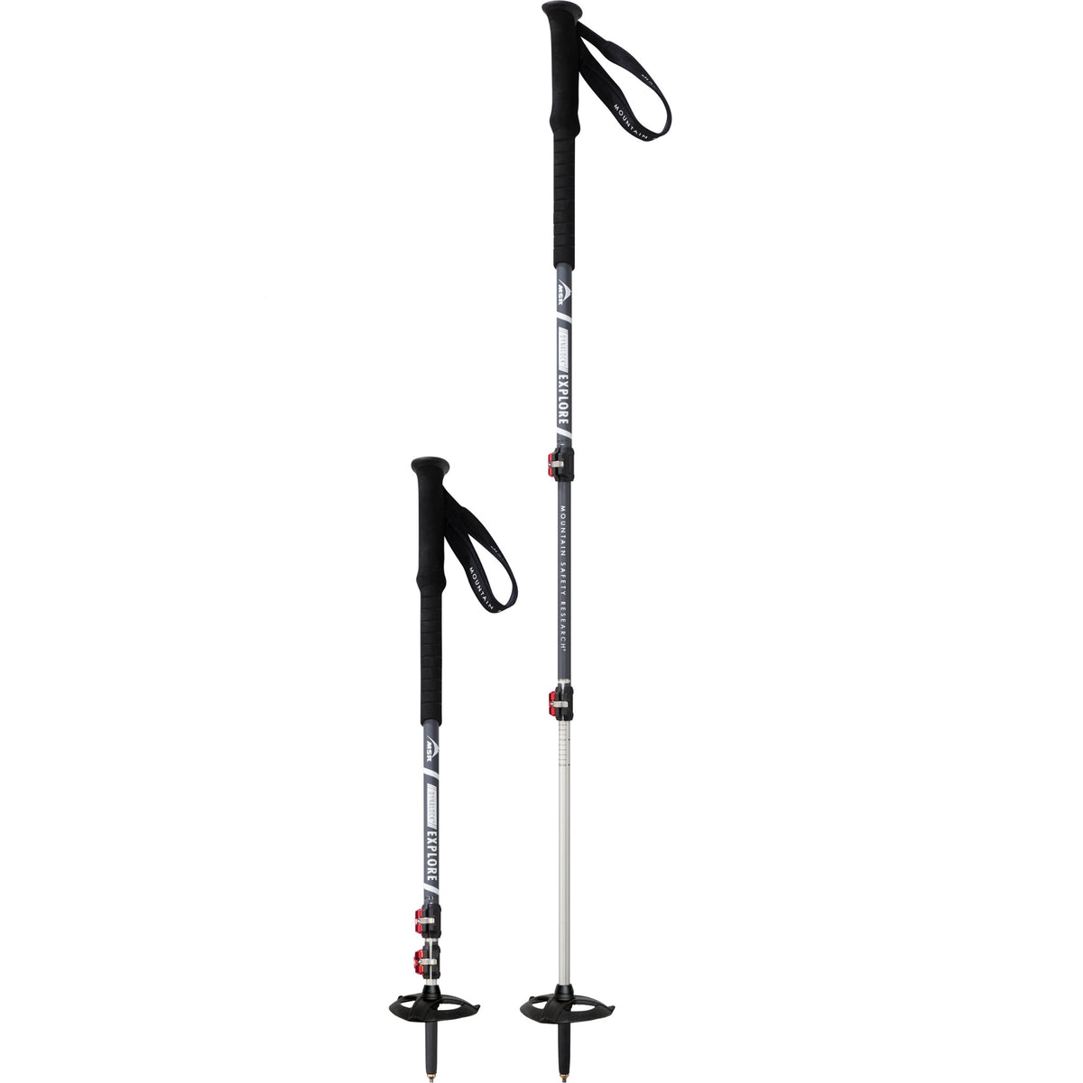Pair of MSR Dynalock Explore trekking poles, one fully extended and one collapsed