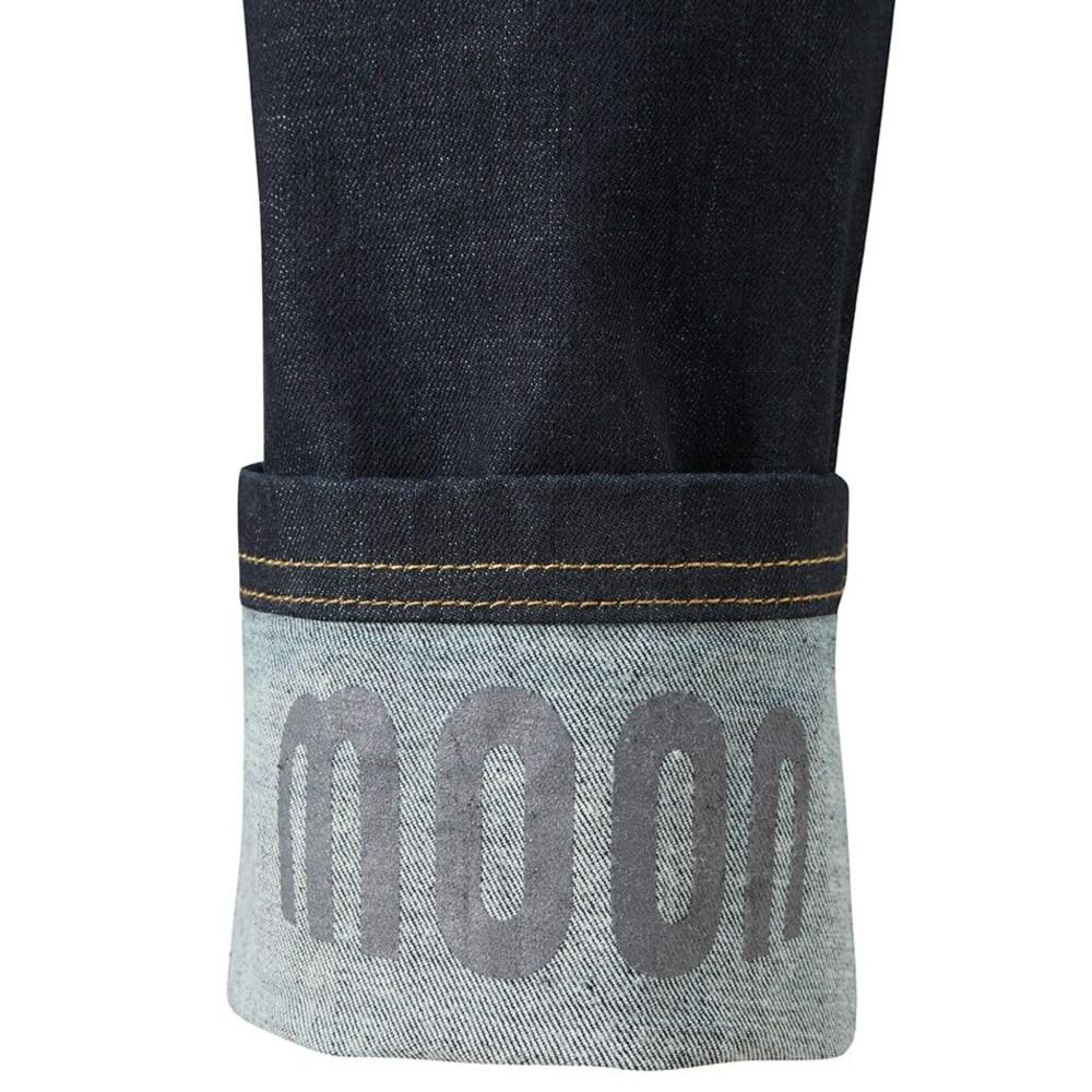 Close up of Moon Hubble X Slim Fit Denim Climbing Jeans upturned bottoms showing logo