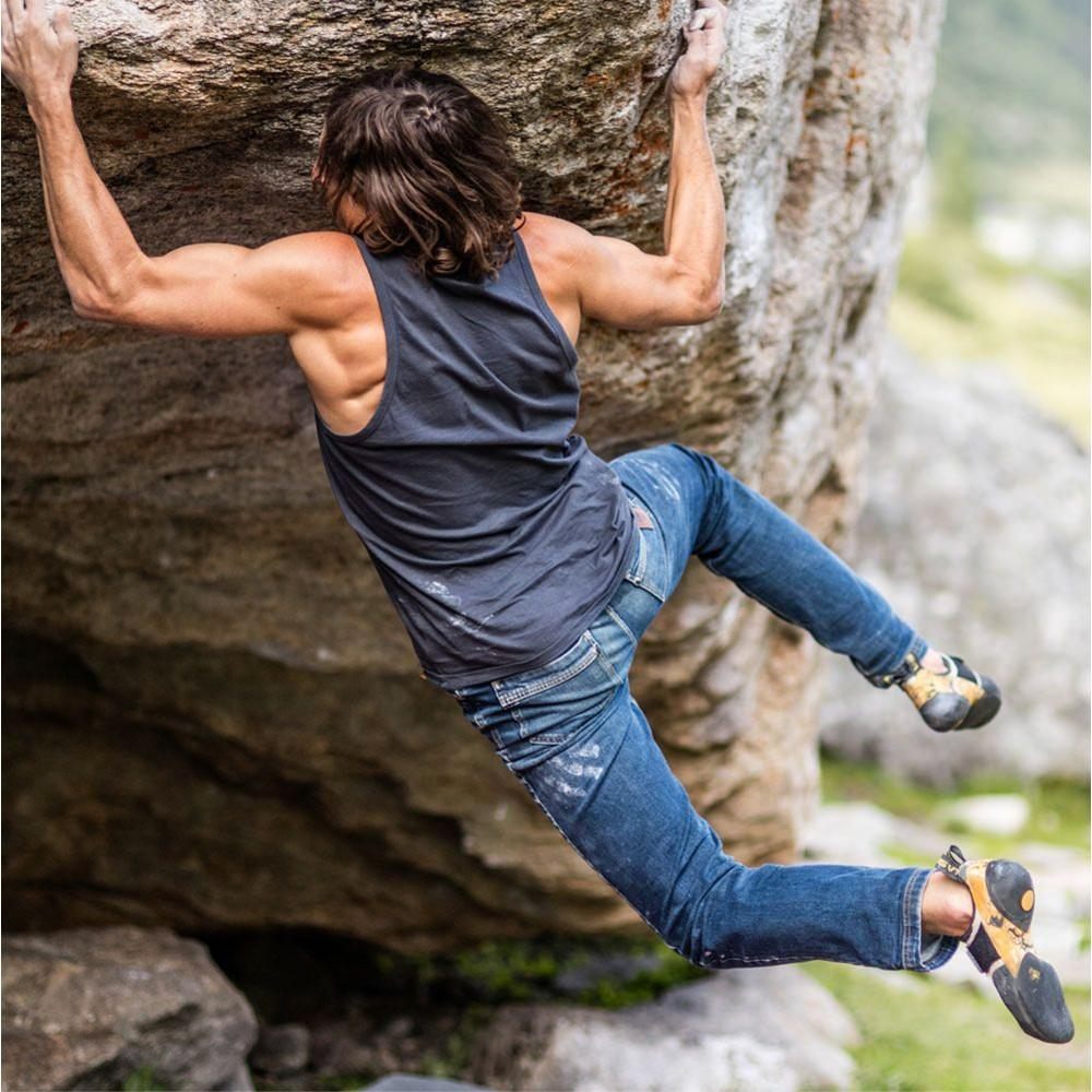 Climber showing the Rear of Moon Hubble X Slim Fit Denim Climbing Jeans in action