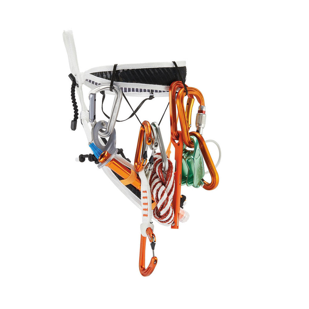 Petzl Fly Harness, side view showing gear racked up on the loops