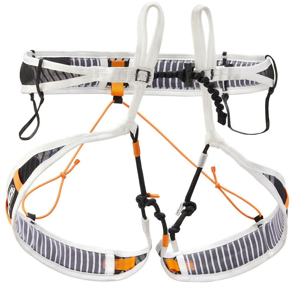 Petzl Fly Harness, Front view in grey, yellow and black colours