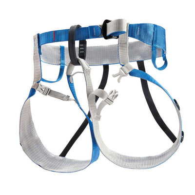 Petzl Tour Harness, front/side view in Blue and Grey colours