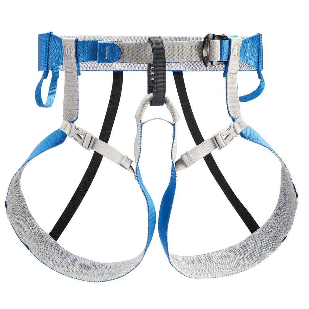 Petzl Tour Harness, front view in blue and grey colours