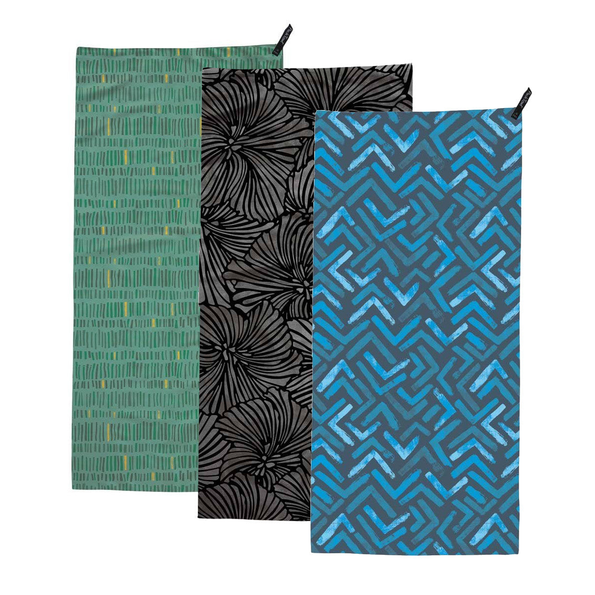 Packtowl UltraLite (Hand) showing 3 towels with green,black and blue colours and pattern