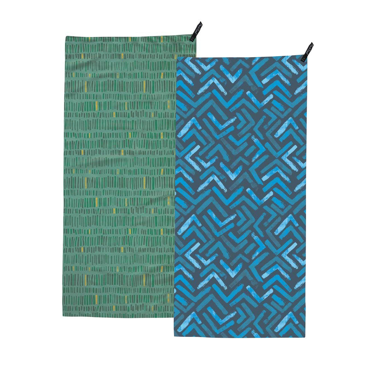 Packtowl UltraLite (Face) in green with pattern and blue with pattern