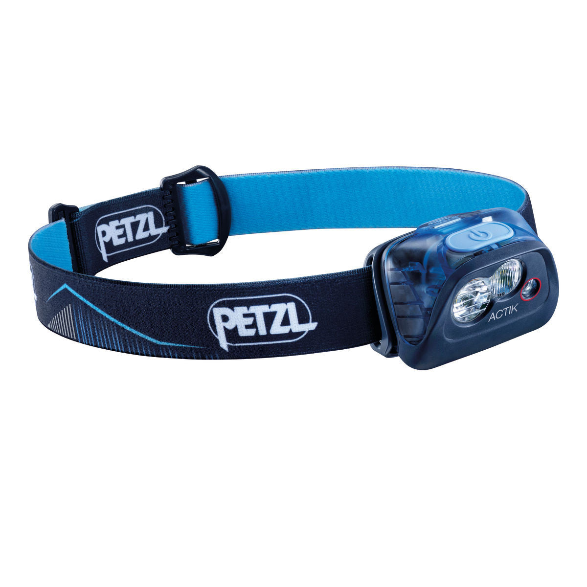Petzl Actik Headtorch, front/side view in Blue colour
