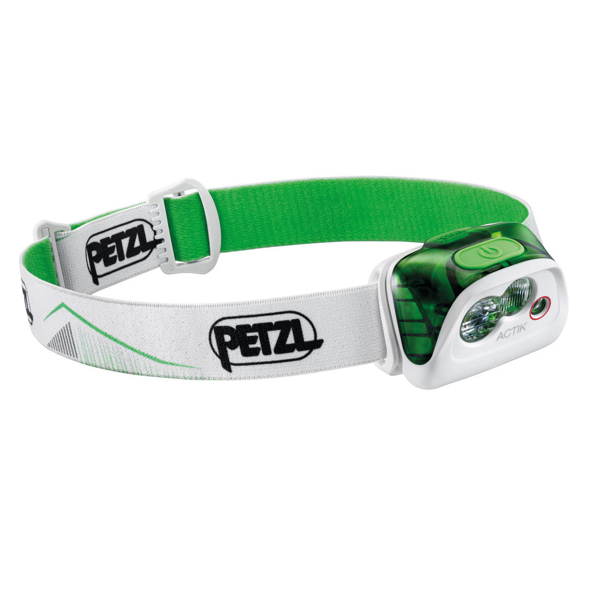 Petzl Actik Headtorch, front/side view in green and white colours