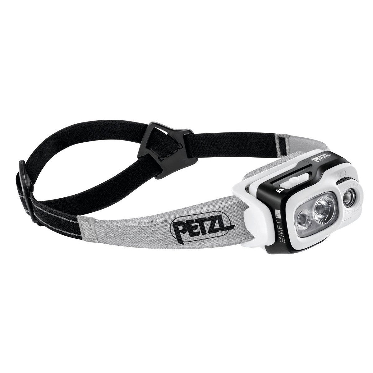 Petzl Swift RL Headtorch, front/side view in black with black and grey strap