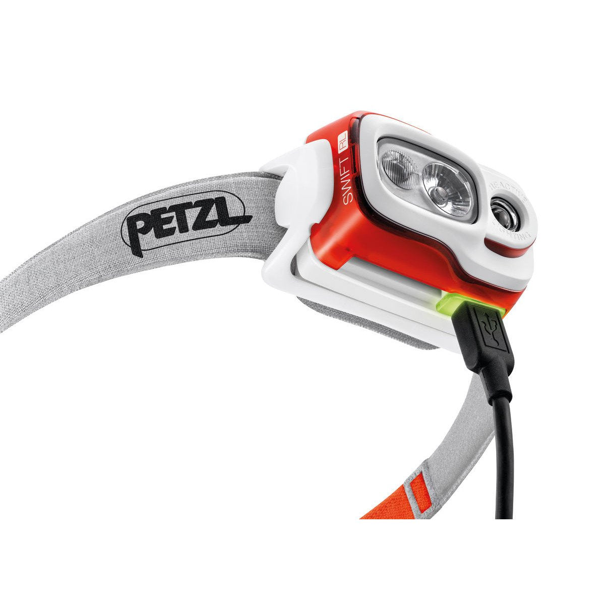 Charging port on Petzl Swift RL Headtorch with wire plugged in