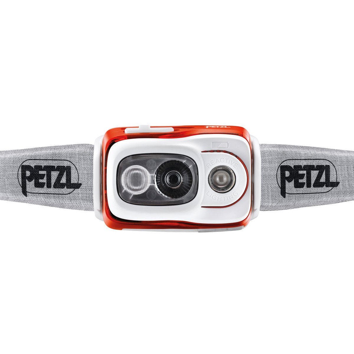 Front view of the Petzl Swift RL Headtorch showing the LED bulbs
