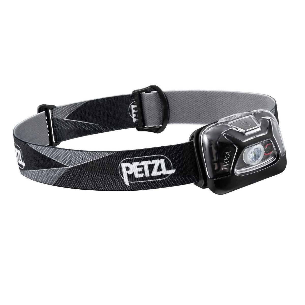 Petzl Tikka Head torch, front/side view in Black/grey colours