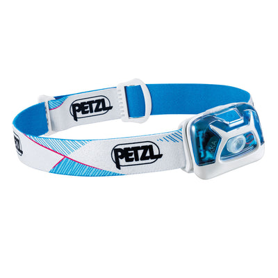 Petzl Tikka Head torch, front/side view in blue/white colours