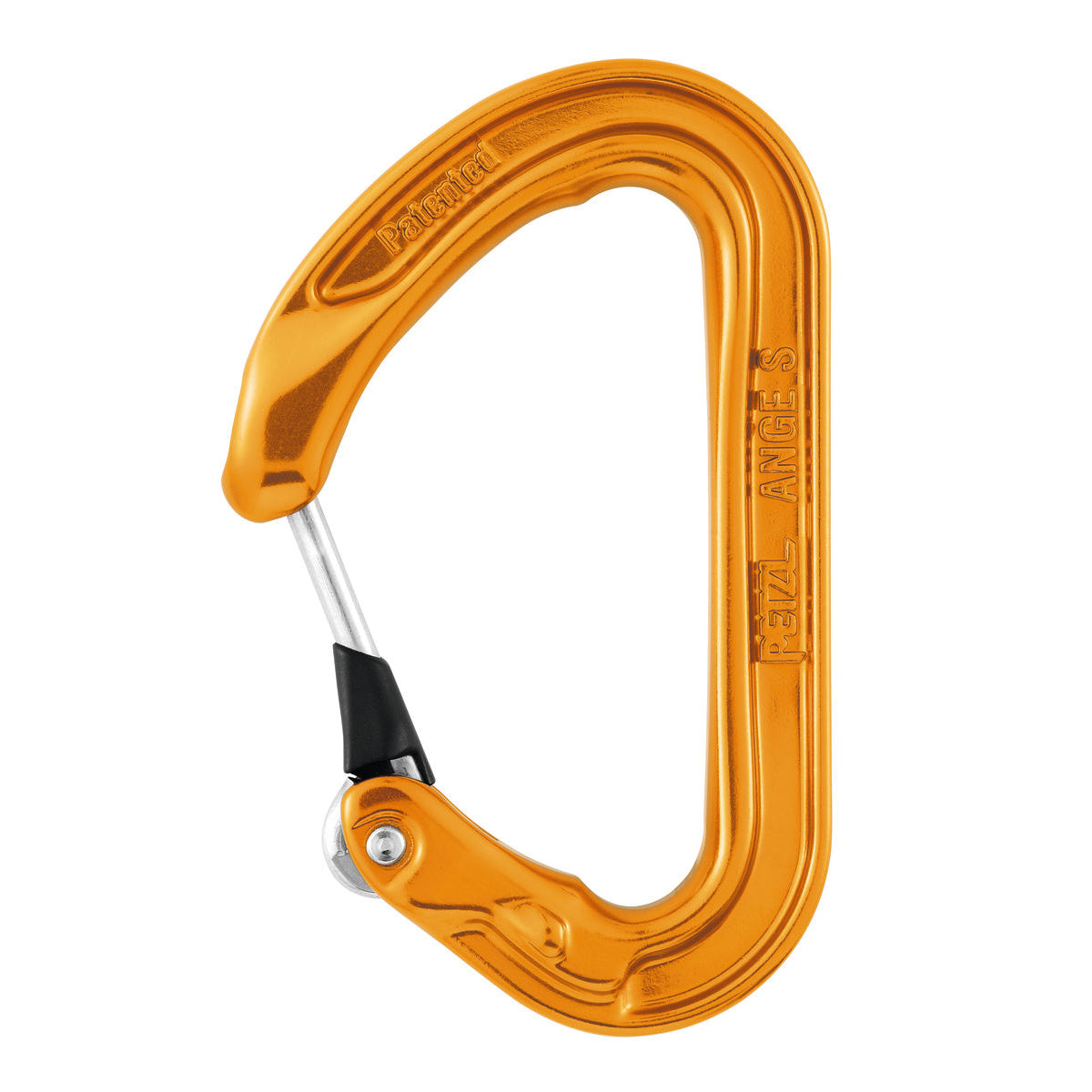 Petzl ANGE S climbing carabiner in orange colour, with silver gate closed