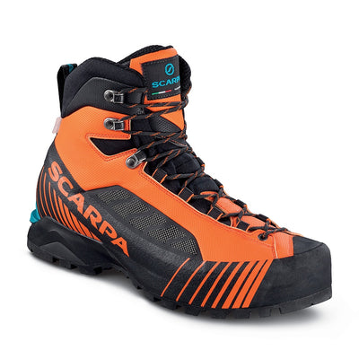 Scarpa Ribelle Lite OD mountaineering boot in orange and black colours