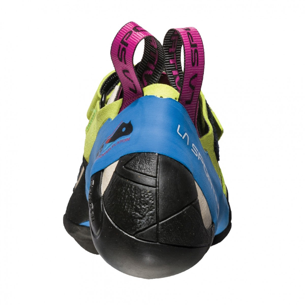 La Sportiva Skwama Women's rock climbing shoe, demonstrating S-heel as seen from the rear.