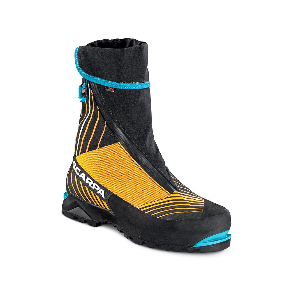Scarpa Phantom Tech mountain boot, front/side view showing gaiter design.
