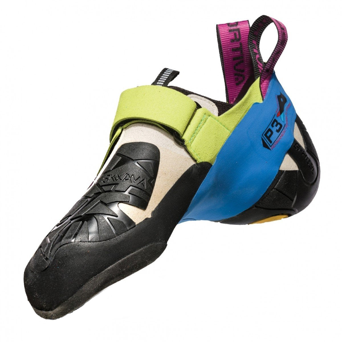 La Sportiva Skwama Women's climbing shoe as seen from the side.