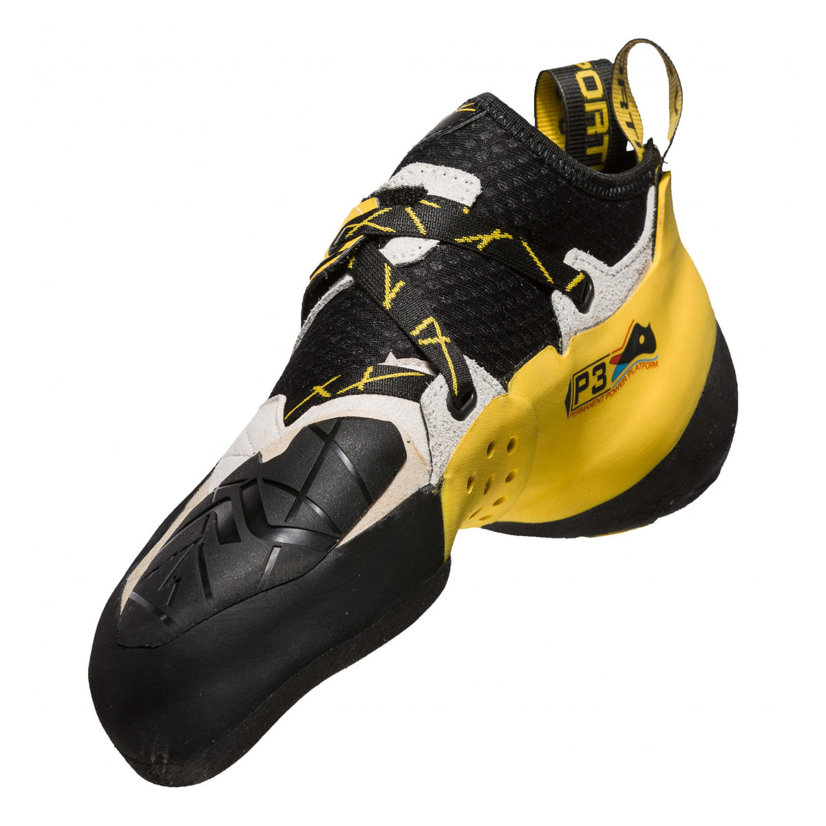 La Sportiva Solution climbing shoe, view from the inside showing the downturn