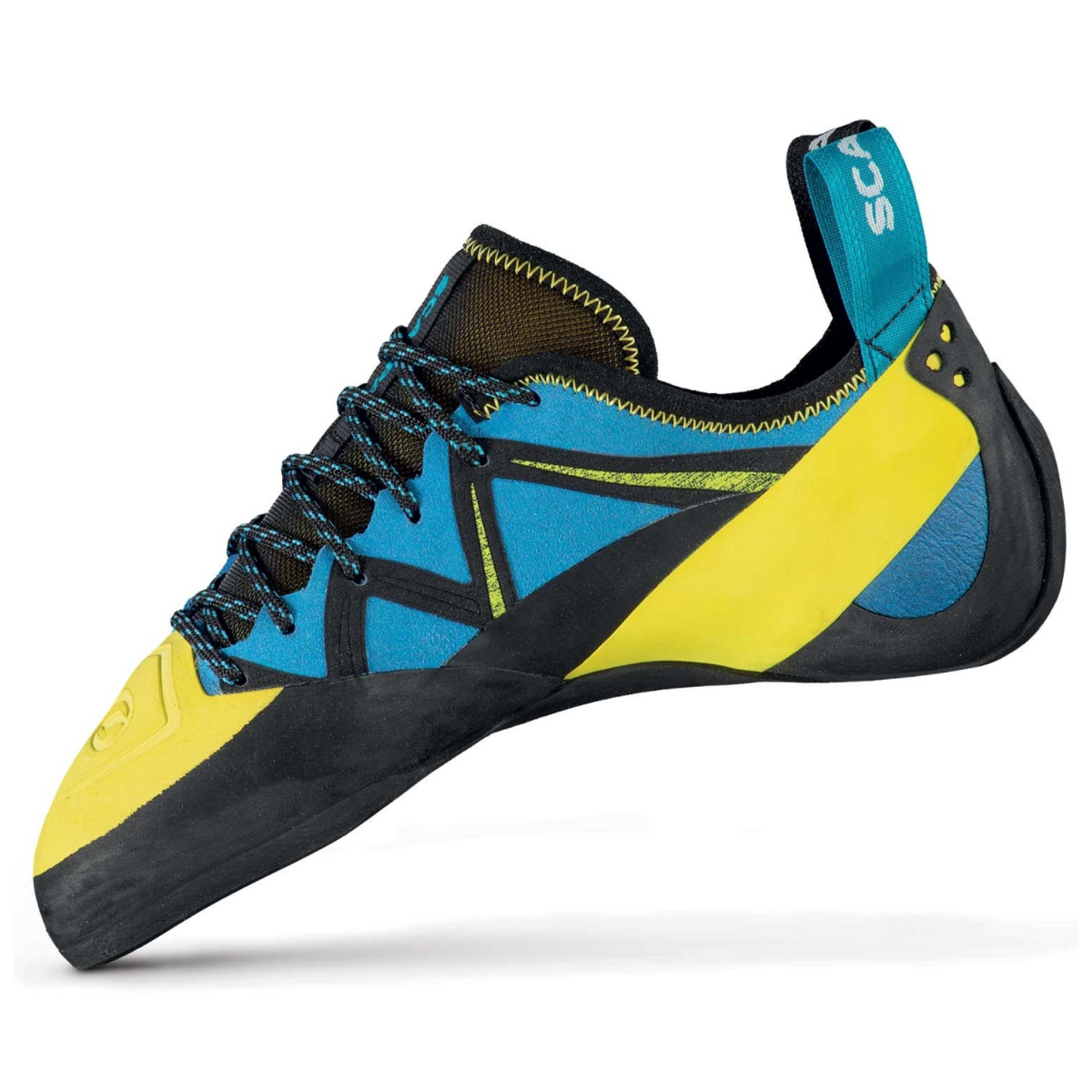 Scarpa Vapour Lace climbing shoe in blue and yellow inside view