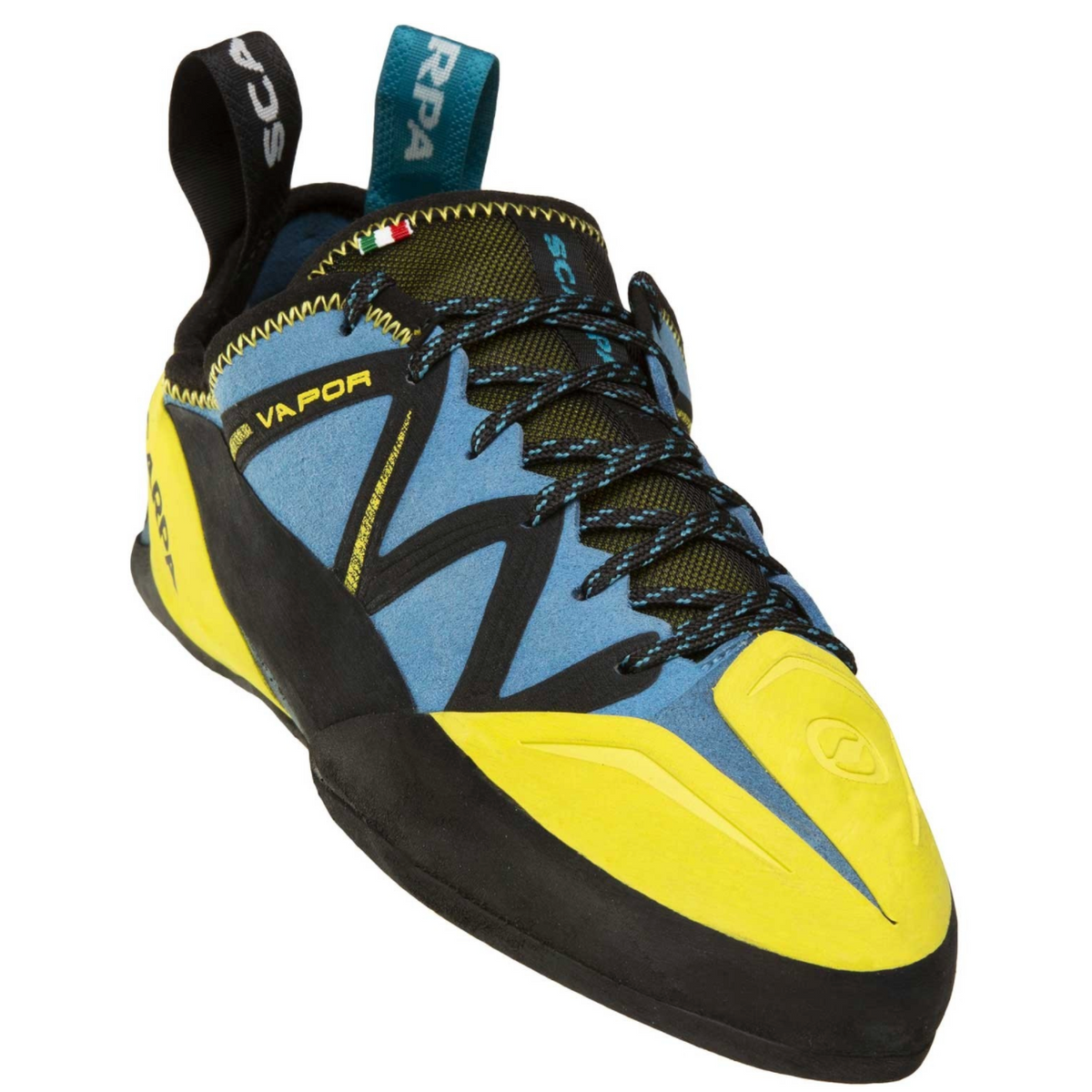 Scarpa Vapour Lace climbing shoe in blue and yellow front