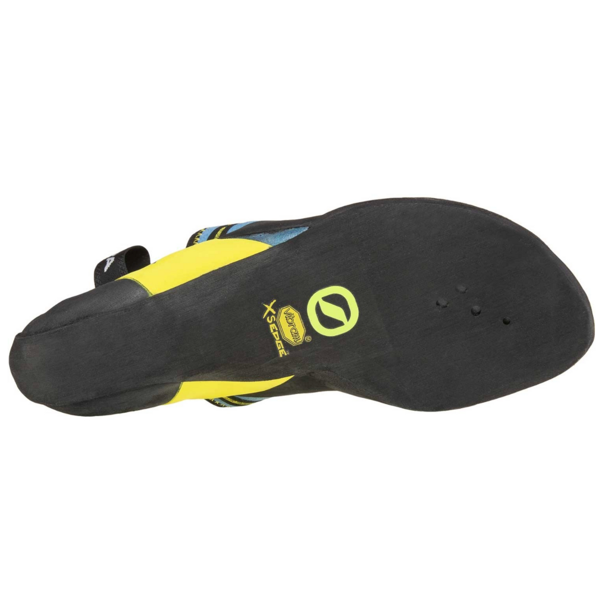 Scarpa Vapour Lace climbing shoe in blue and yellow sole