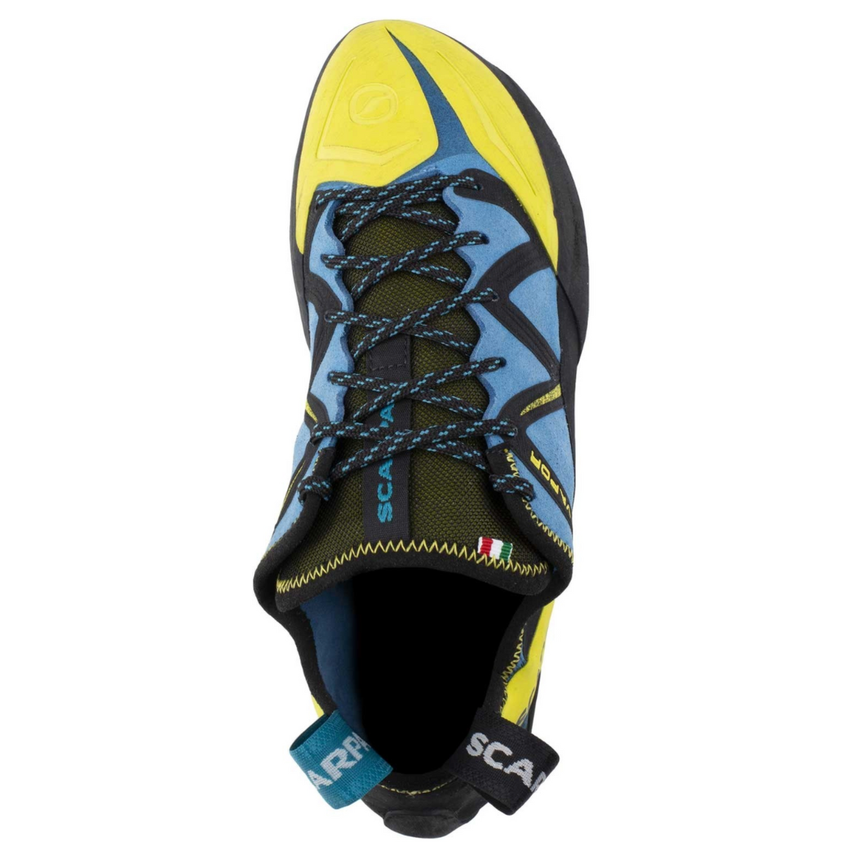Scarpa Vapour Lace climbing shoe in blue and yellow overview