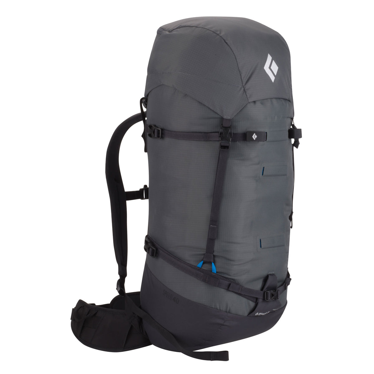 Black Diamond Speed 40 backpack, front/side view in grey and black colours