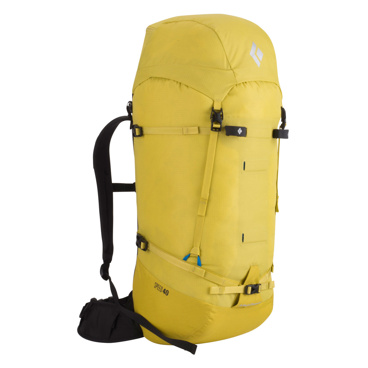 Black Diamond Speed 40 backpack, front/side view in Yellow colour