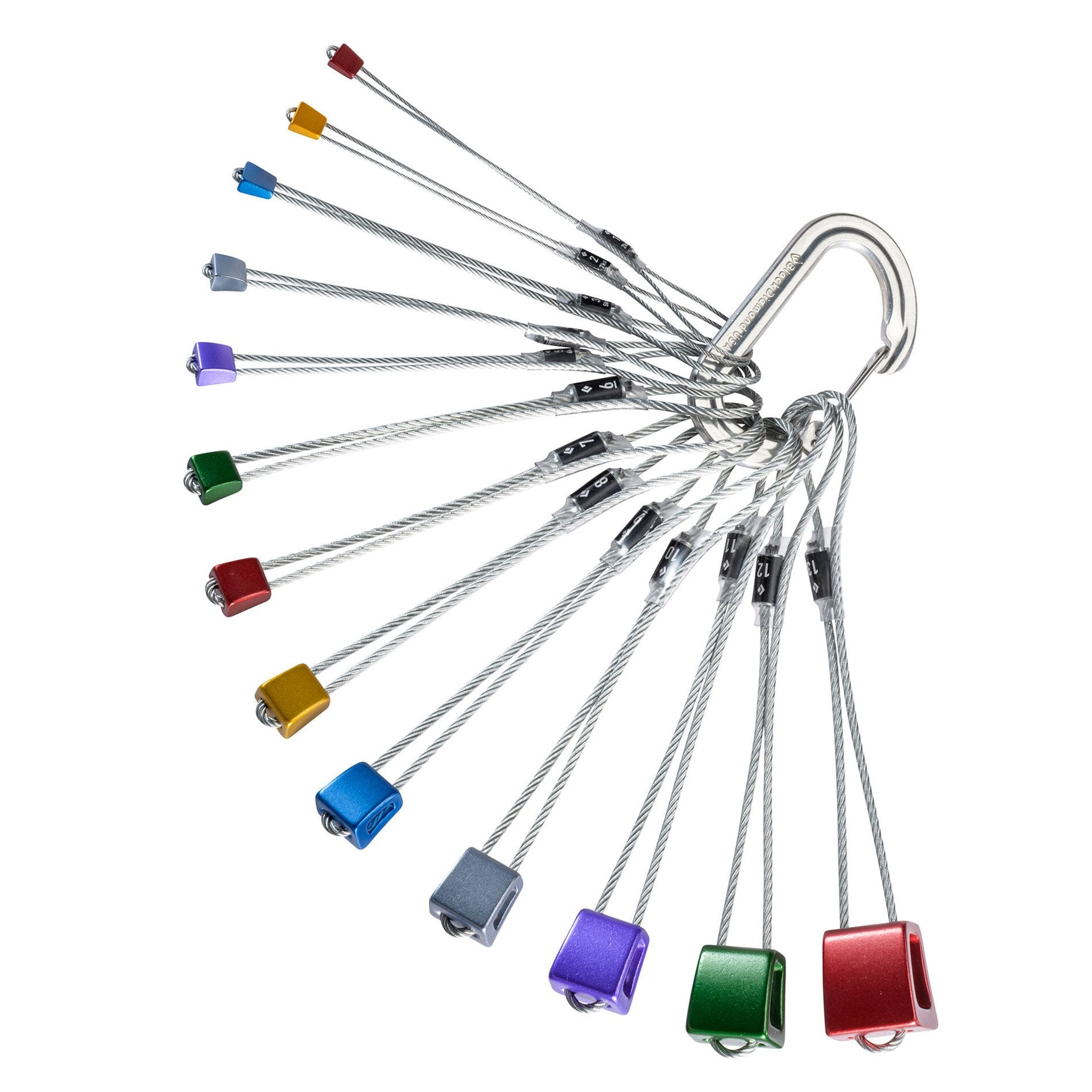 Black Diamond Stopper Pro climbing nut Set sizes 1-13 in various colours in a fan shape on a biner