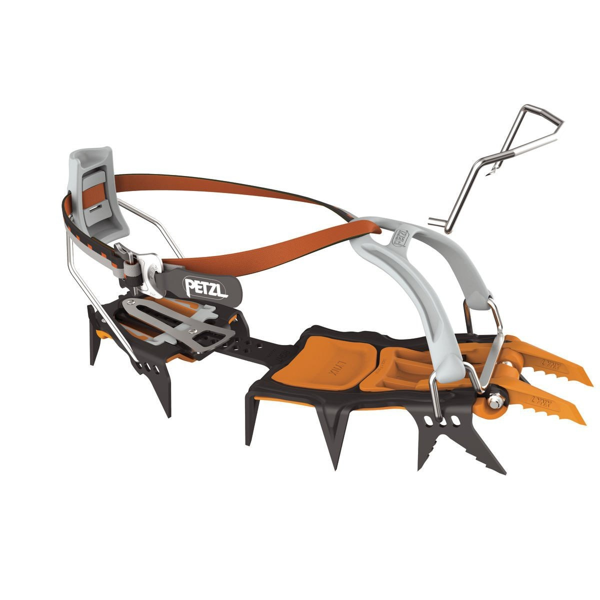 Petzl Lynx Leverlock Universal crampon, in orange, black and silver colours
