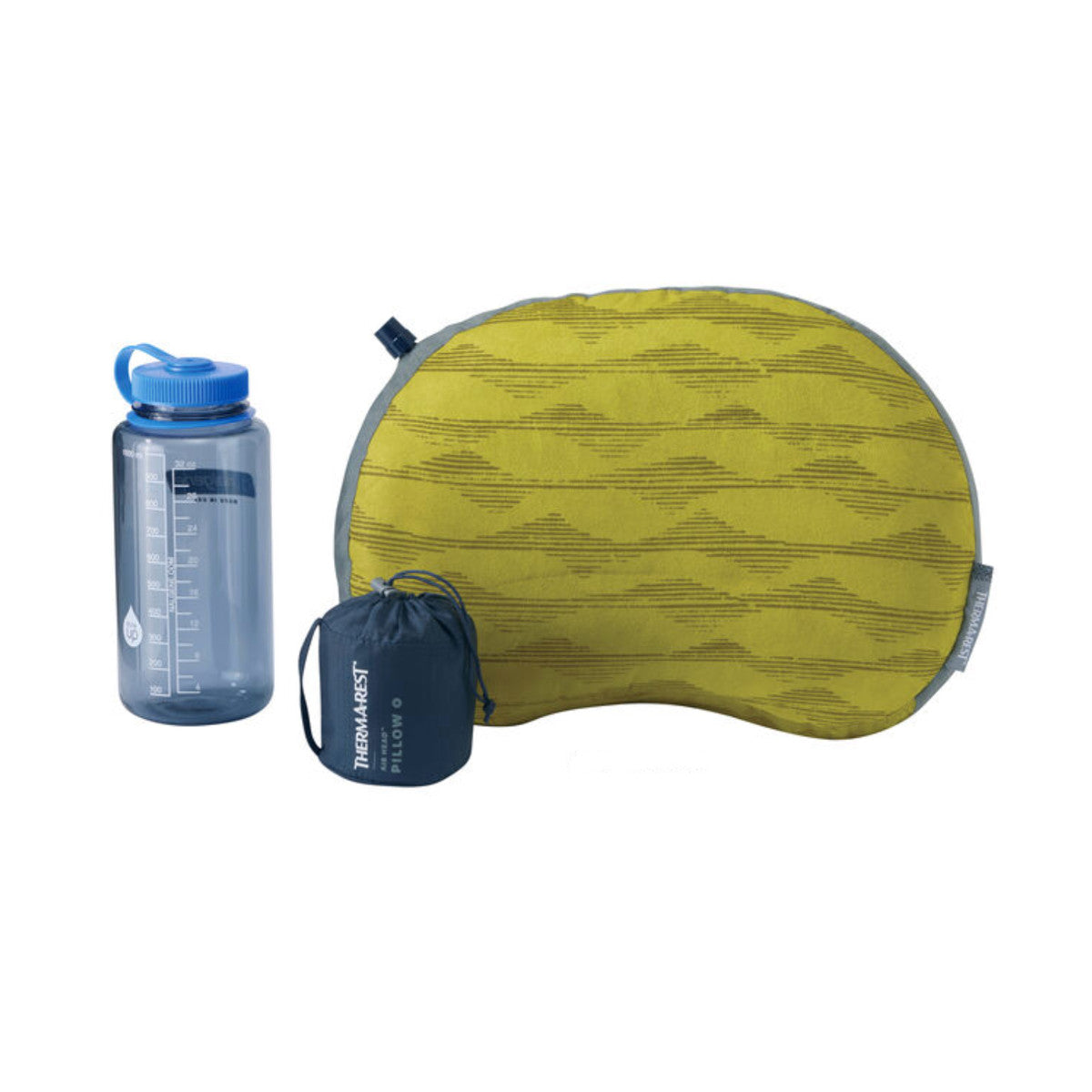 Thermarest Air Head in yellow next to nalgene