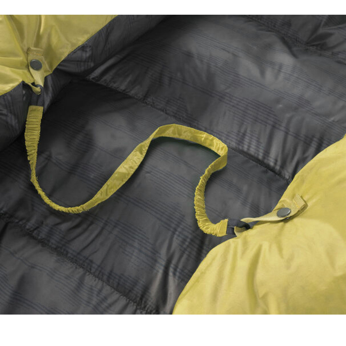 Thermarest Corus 20F/-6C Quilt in golden colour showing mattress strap attachment
