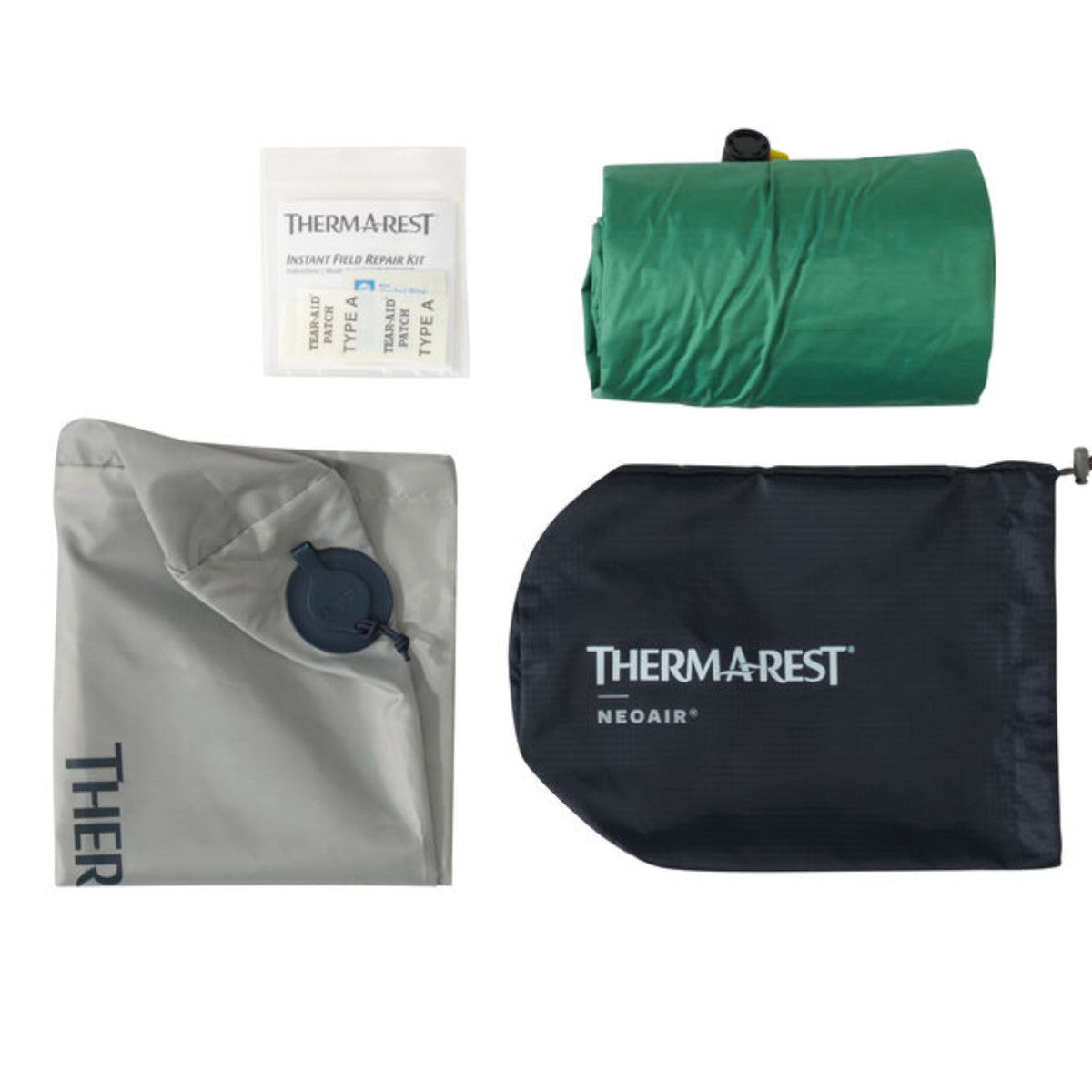 Thermarest NeoAir Venture showing items contained in pack