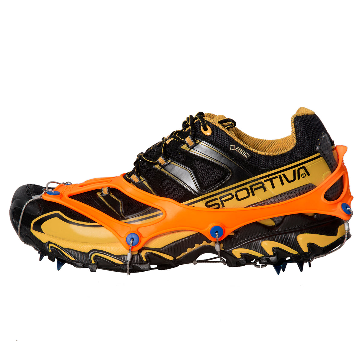 Nortec Trail Spikes shown worn on a trail shoe from the side view