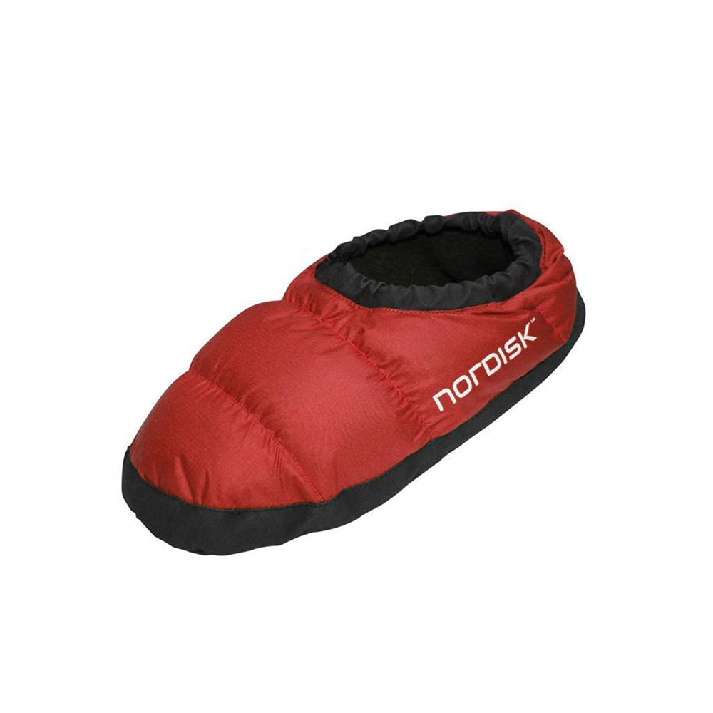 Nordisk Mos Down Slipper, outer/side view in red colour with black sole