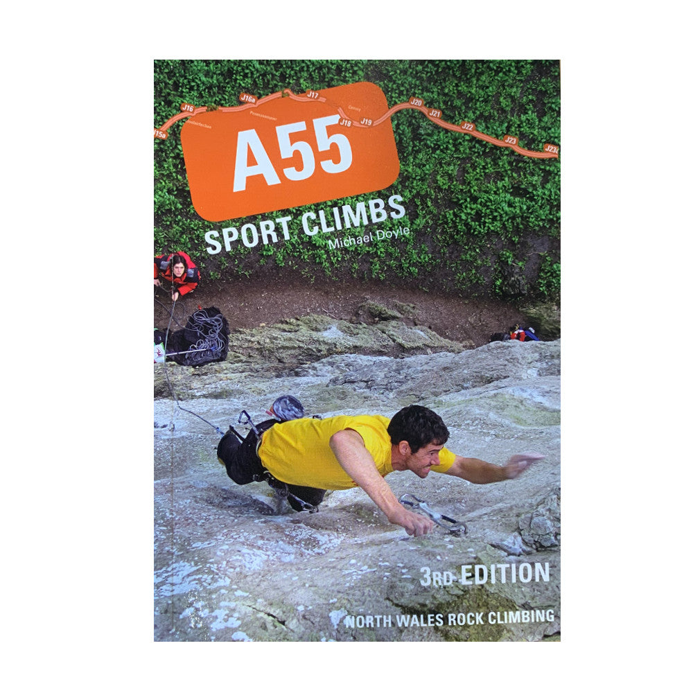 A55 Sport Climbs - 3rd edition, front cover with climber reaching for next hold
