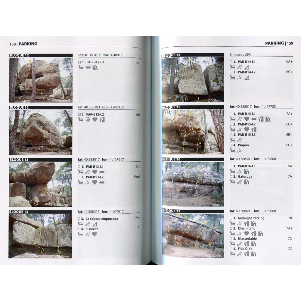 Boulder Albarracin guide, page examples inside showing topos and photos