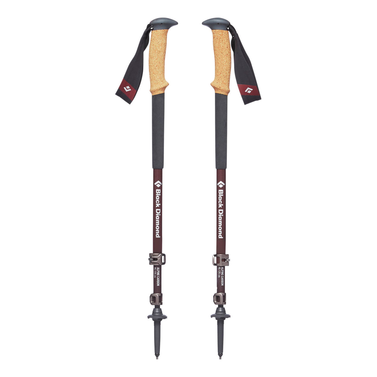 Pair of Black Diamond Alpine Carbon Cork Womens walking poles, shown collapsed down in Grey & Red