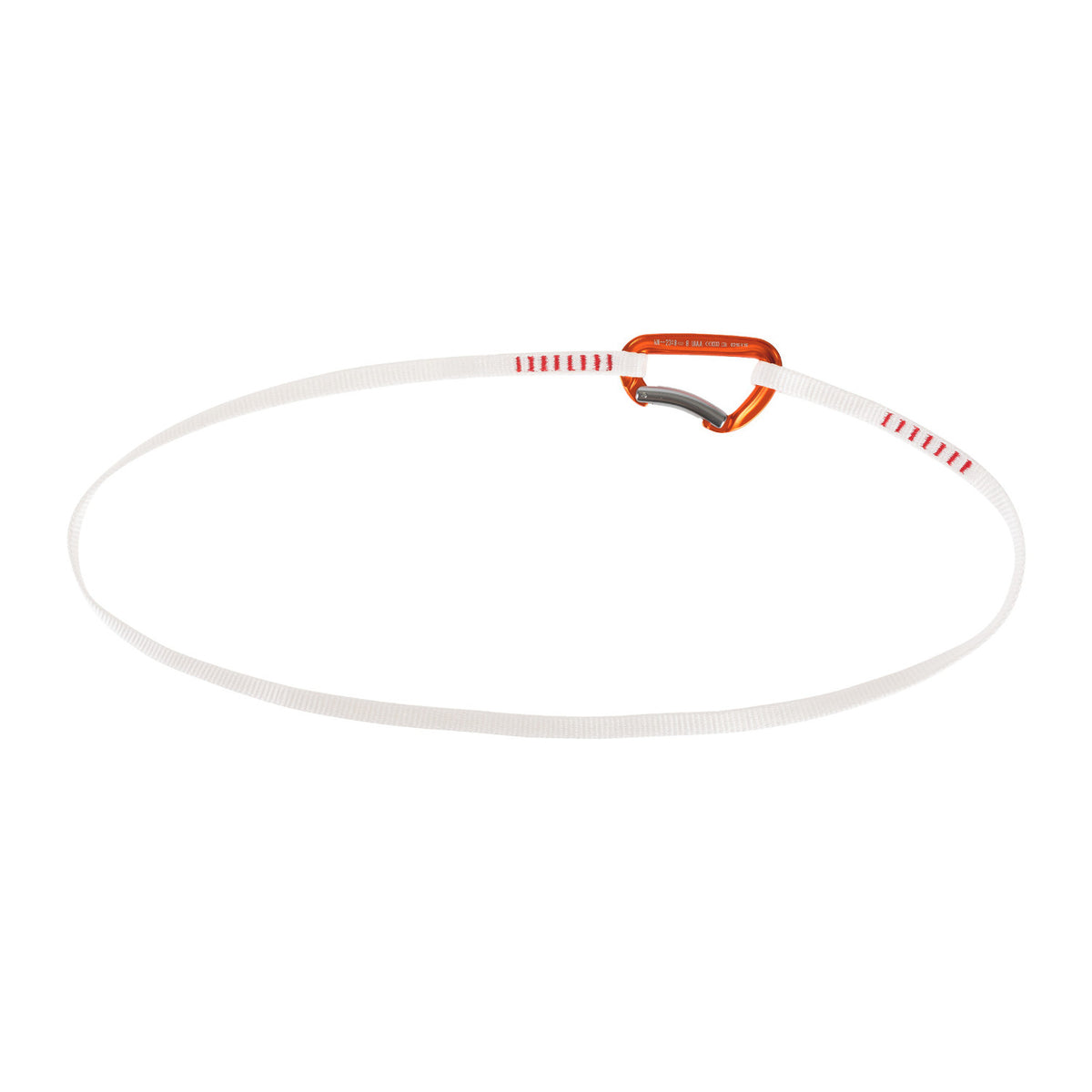 Mammut Alpine Trad Sling 120cm in White & Orange with a carabiner joining it