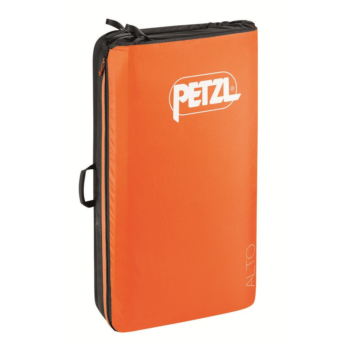 Petzl Alto bouldering crash pad, shown closed and stood up in orange colour