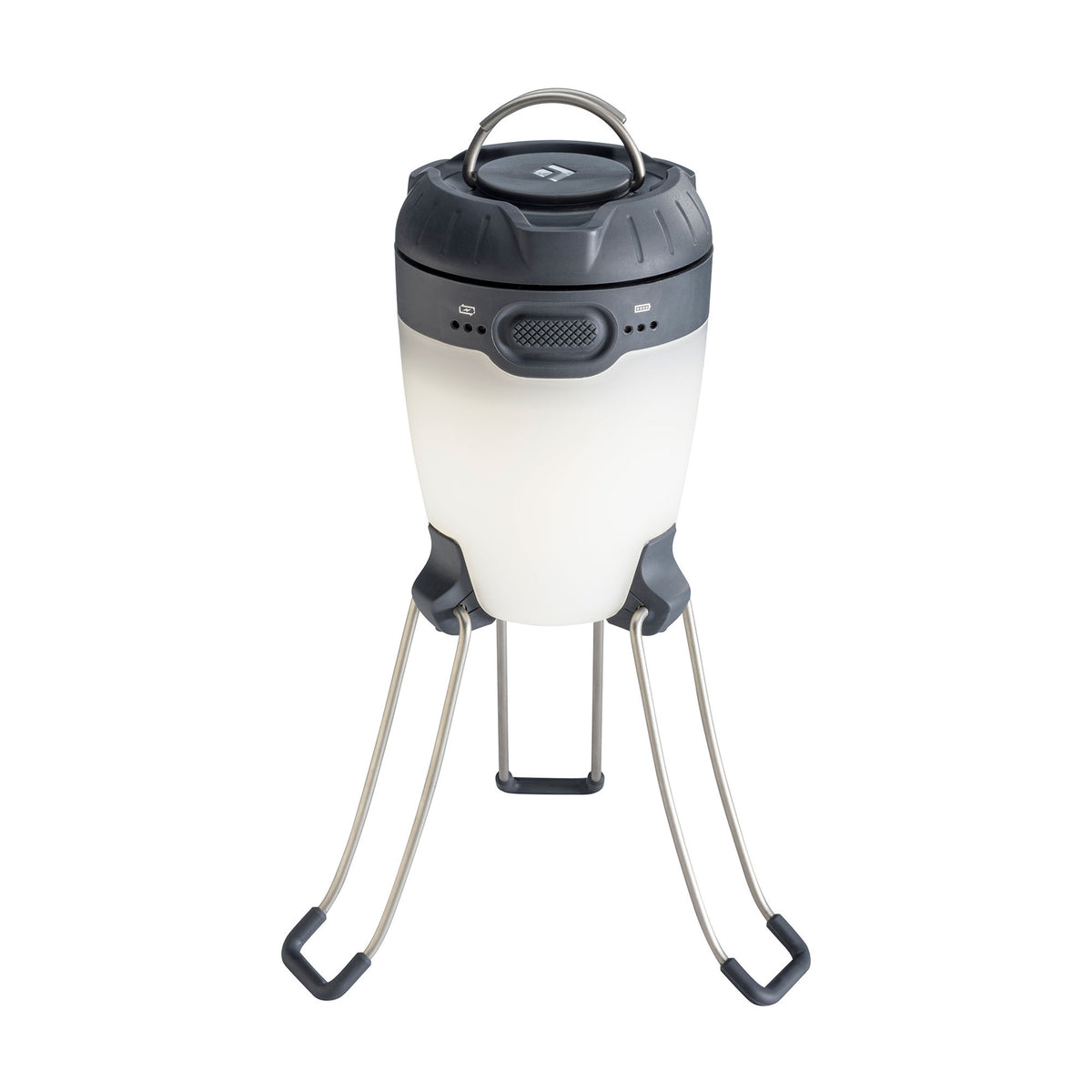 Black Diamond Apollo camping lantern, shown stood up on legs in black/white colours