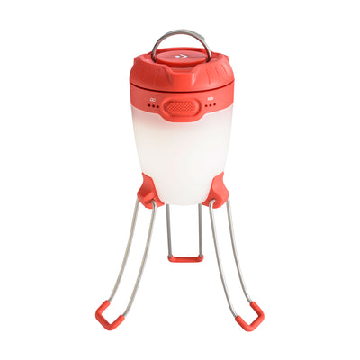 Black Diamond Apollo camping lantern, shown stood up on legs in red and white colours