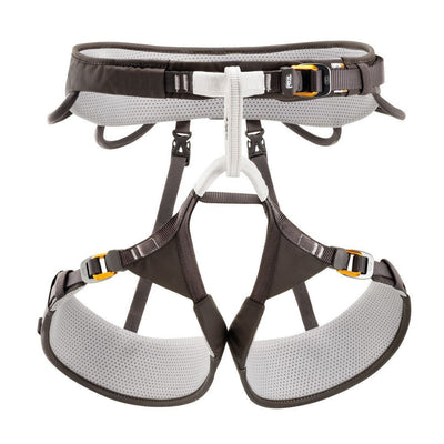Petzl Aquila Harness, front view in black and grey colours