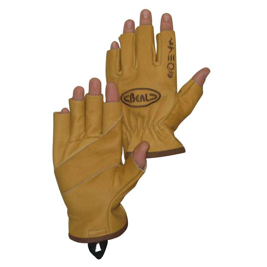 Beal Assure Gloves, belay gloves in tan leather showing inside and outside design
